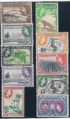 Nyasaland - British Colonial - Set Of 7 Old Stamps Mh & 3 Used ( Nyas 2 )