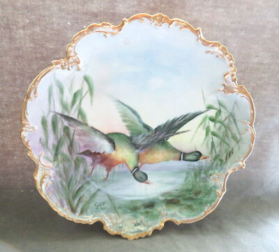 1905 Limoges France 12.5 '' Hand Painted Signed Ducks Display Plate