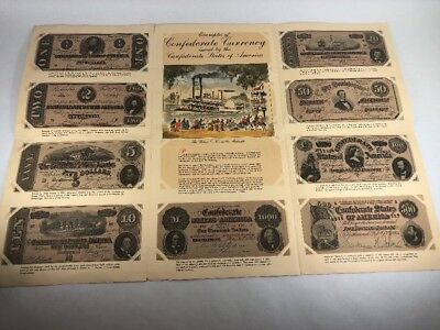 Confederate Currency Reproductions Collection of 9 Bills Paper Money with Album