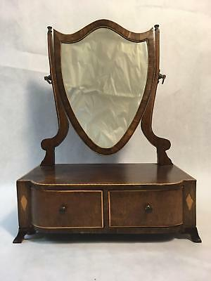 Antique Wood Dresser Top Make-Up or Shaving Mirror Vanity with 2 Drawers