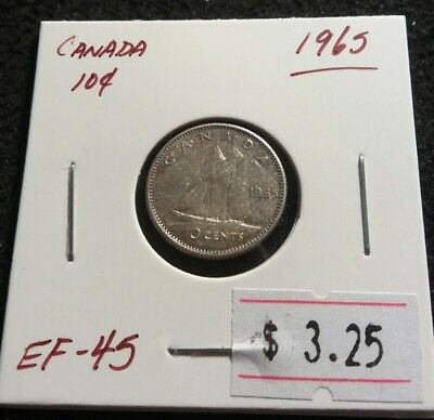 Canada 1965 10 cents QEII Silver High Grade Very Nice Silver Dime Coin (#889)
