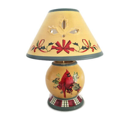 "Lenox Winter Greetings Everyday 10"" Tealight Candle Lamp Cardinal Holly"