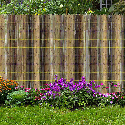 Natural Bamboo Peeled Reed Fence Garden Privacy Panel Roll Sun Wind Break New