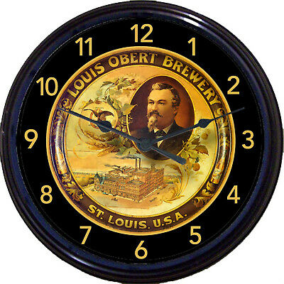 Louis Obert Brewery Beer Tray Wall Clock St Louis MO Ale Lager Brew Man Cave