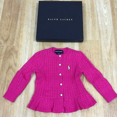 NEW RALPH LAUREN Pink Cable Knit Cardigan With Frill Hem Age 12 Mths 15257
