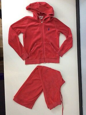 Juicy Couture Red Velour Tracksuit Age 10 Years Hoodie And Bottoms Gc