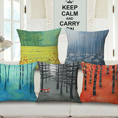 """18"""" Home Cotton Linen Car Bed Sofa Throw Pillow Case Forest Nature Square Cover"""