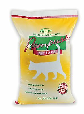 Pettex Pampuss Woodbase Cat Litter 30 Litre Brown Wood Based Litter Eco Friendly