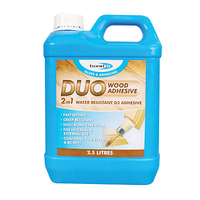 Bond It Duo 2 In 1 Fast Drying Pva Technology Water Resistant Wood Glue 2.5 Ltr