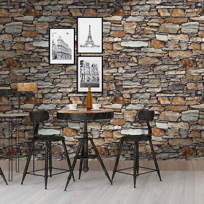 Vintage Faux Stacked Stone Wallpaper Brick 3D Textured  Rust/Black/Brown Wall