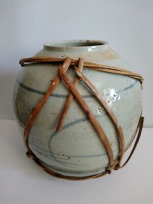 "Antique 19th Cent. Chinese Stoneware Jar with original carrying ""rope"". Lovely!"