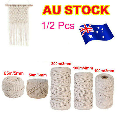 2/3/4/5/6mm Macrame Rope Natural Beige Cotton Twisted Cord Artisan Hand Craft