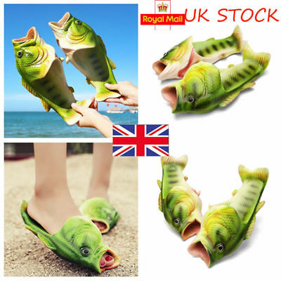 Creative Unisex Fish Shower Slippers Funny Beach Shoes Sandals Bling Flip Flops