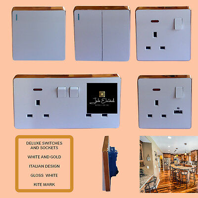 £2.90 Deluxe white w gold edge electric wall light switch 13A plug socket OX1