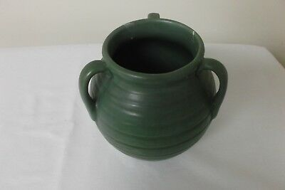 Early Stangl 3 Handle Art Pottery Matte Green Vase ~ Ring Pattern ~ As Is