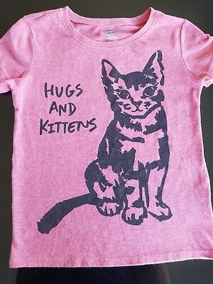 Old Navy Girls Shirt Size 5T Hugs and Kittens Pink