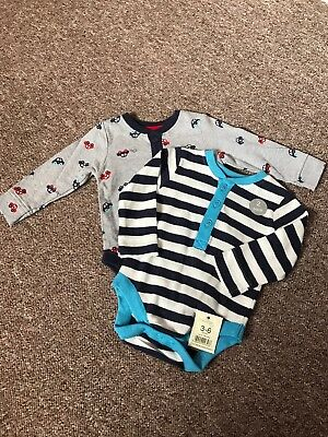 Boys 2 Pack Long Sleeve Vest Tshirts 3-6 Months BNWT George