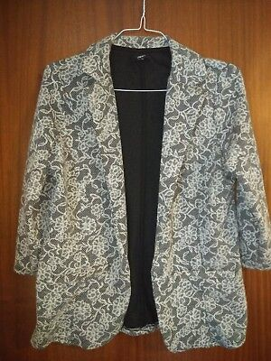 Papaya Blazer Jacket Open Front Black White Floral Size 14
