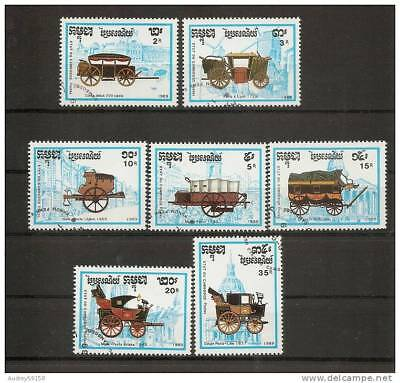 Cambodia 1989 Expo Philexfrance Monuments Parisian And Stagecoach Serie Fully