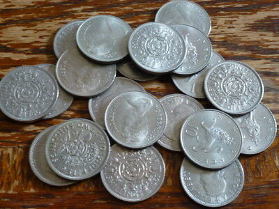 1947 TO 1981 CIRCULATED/UNC LARGE OLD GEORGE VI ELIZABETH II TWO SHILLING & 10p