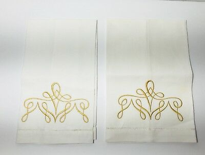 VTG Set 2 Irish Linen Hemstitch Guest Hand Towels White Gold Embroidery Design Z
