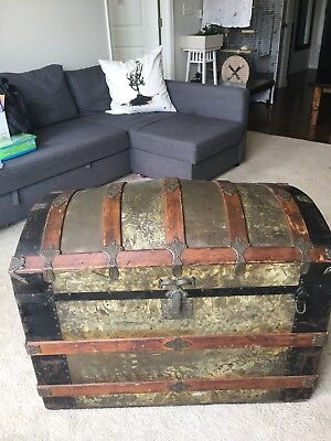 Antique Late 1880's Metal-Banded Steamer Trunk/Chest