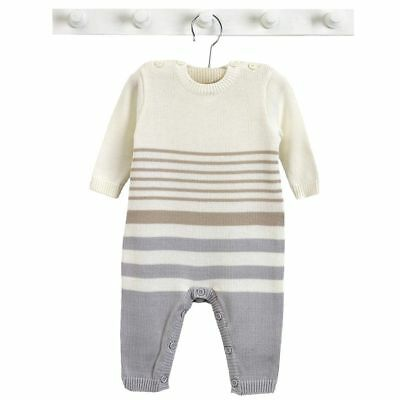 Natures purest Stripe Organic Cotton All In One Grey & Mink Striped 3-6 Months