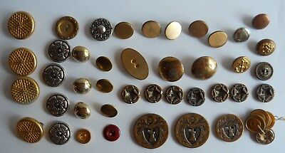 Lot of 45 Assorted Mixed Antique Vintage Metal Buttons ~Military~Stars