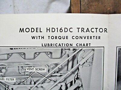 Vintage Wall Lubrication Chart Allis Chalmers HD16DC Tractor WITH TORQUE CONVERT