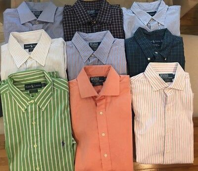Lot of 9 Polo Ralph Lauren Dress Shirts 2 Yarmouth 3 Custom Fit 3 Classic Fit