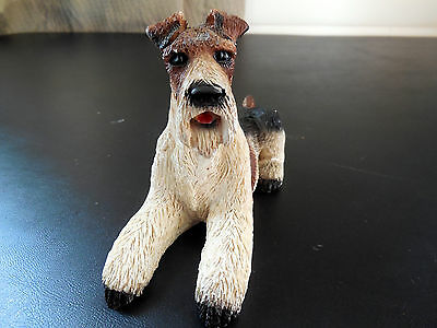 Vintage Wire Fox Terrier Dog Figurine Hand Painted Italy Resin 700/59