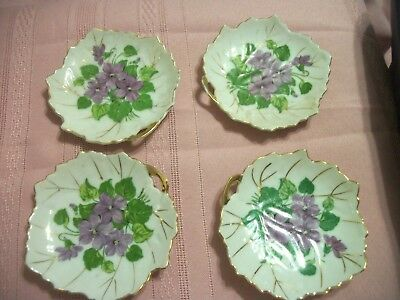 "4 Vintage Nasco Japan Butter Pat Small 4"" Leaf Shaped Plates Violets Decor"