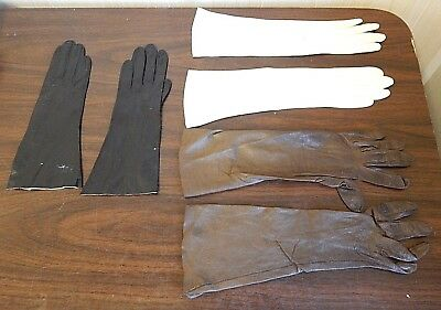 Lot of 3 Pairs Vintage Long Women's Leather Gloves, White, Brown, Black