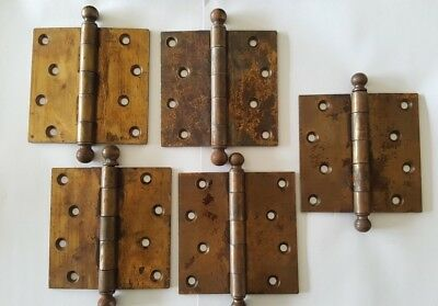 Vintage Brass Door Hinges Cannonball x 5