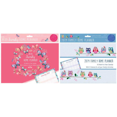 2019 Family Home Planner A3 Month to View - 5 columns for all the family