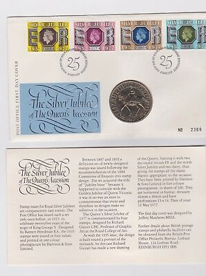 UK GREAT BRITAIN 1977 STAMP AND COIN COVER SILVER JUBILEE  FDC coin cover