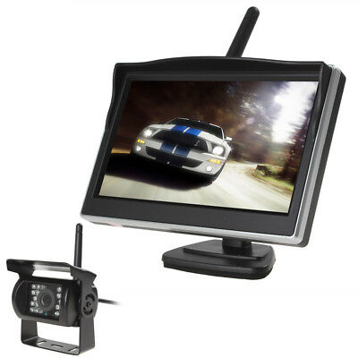 """2.4G Wireless Rear View Backup Camera Night Vision + 5"""" Monitor For RV Truck Bus"""