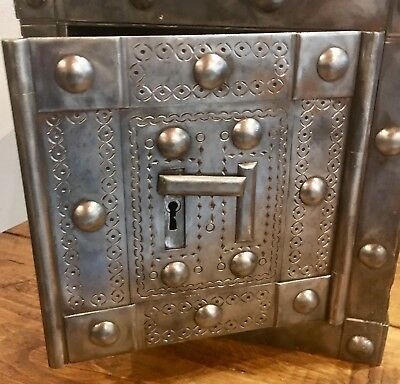 1790/1840 italian antique safe, strongbox , iron chest , key