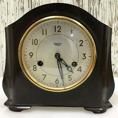 SMITHS ENFIELD Brown Bakelite Vintage Chiming Mantle Clock Retro Art Deco 17275