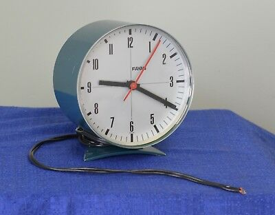 Favag clock desk mantle vintage rare blue swiss made in Switzerland