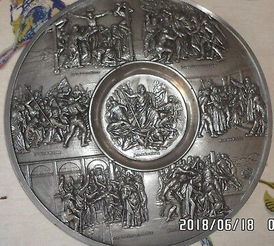 jesus christ portrayed on heavy pewter salver