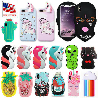 For iPhone X 6 7 8+ Cute 3D Cartoon Animal Horse Soft Rubber Silicone Case Cover