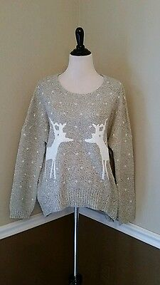 NEW Modcloth Antlers Sweater S/M Beige Oatmeal Reindeer Chic Oversize Urban Day