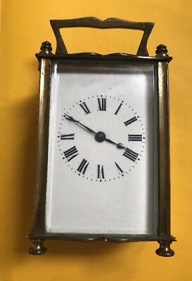 Antique French SRFA Brass Glass Carriage Clock