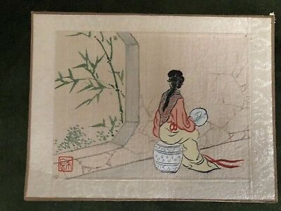 Small Antique Oriental Painting On Silk 5x4 Inches signed