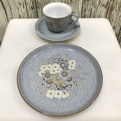 DENBY Coloroll Set of 3 Grey Speckle Handcrafted Fine Stoneware Cup Plate 17278