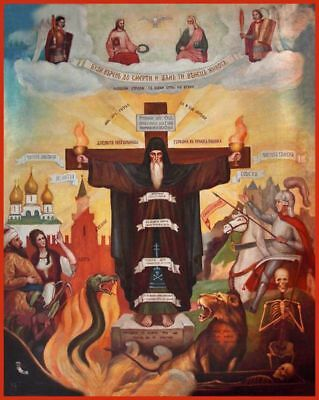 Russian Orthodox Icon - Depiction of the Monastic Struggle (not antique)