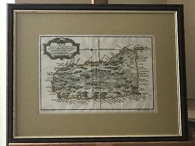 Framed & Glazed Rare Antique Hand Coloured Engraving Map of St Lucia Dated 1758