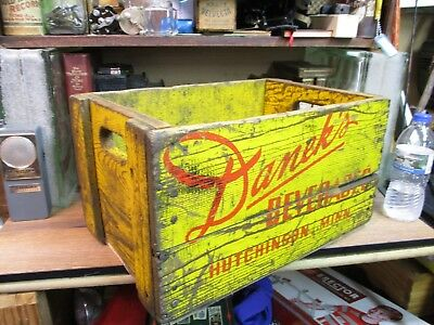 DANEK'S VINTAGE wooden BEVERAGE soda CRATE pop wood carrier HUTCHINSON MN