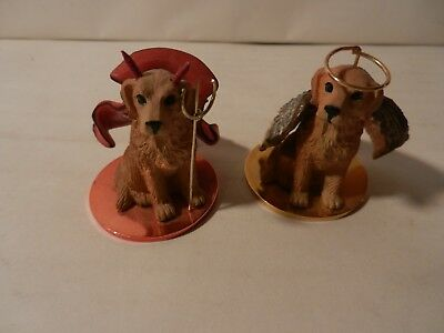"""Pair of Devil and Angel Golden Retrievers by Tiny Ones 1 ¾"""" Tall (30)"""
